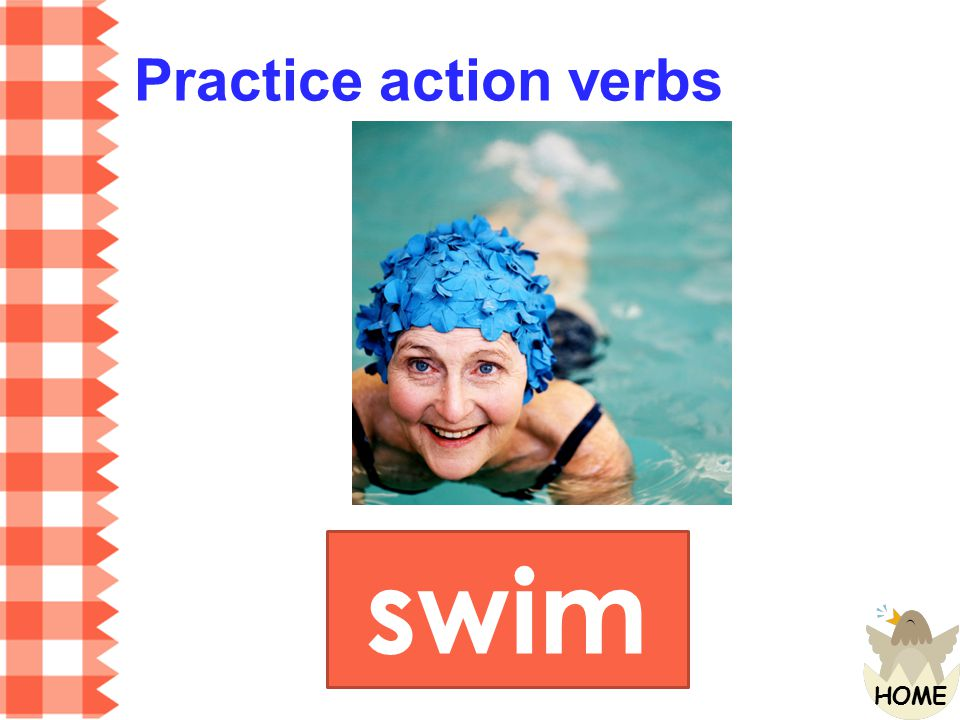 Practice action verbs swim