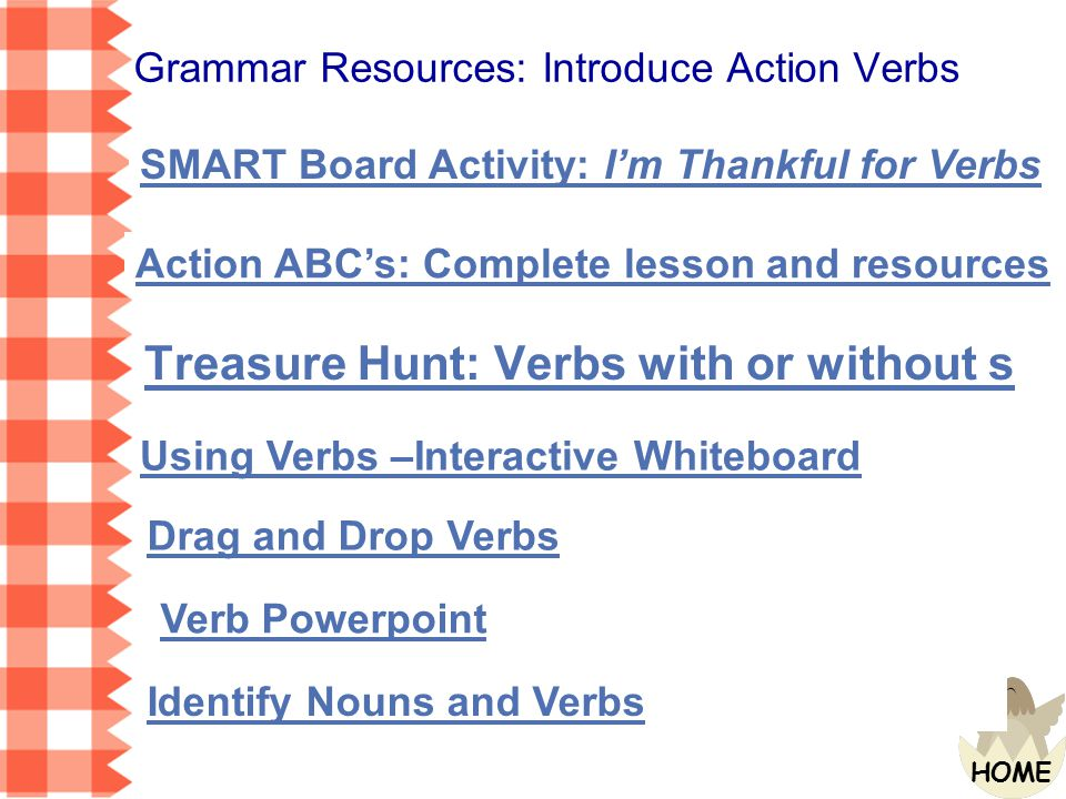 Grammar Resources: Introduce Action Verbs