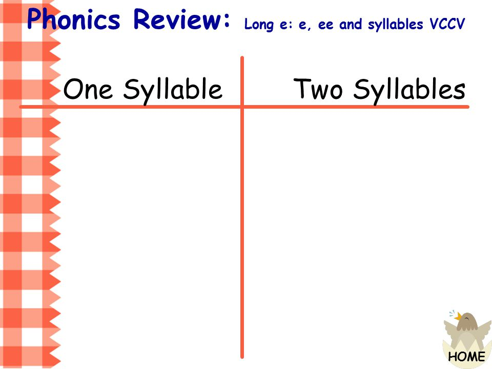 Phonics Review: Long e: e, ee and syllables VCCV