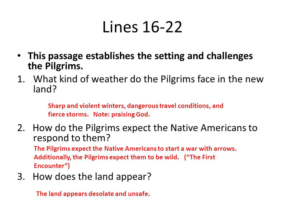 Lines 16-22 This passage establishes the setting and challenges the Pilgrims. What kind of weather do the Pilgrims face in the new land