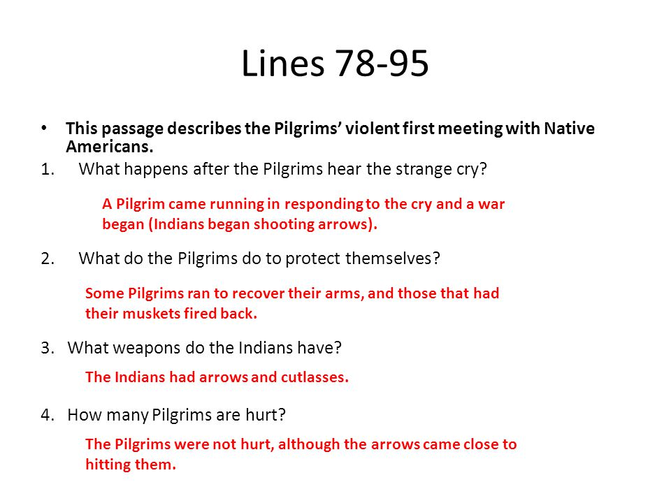 Lines 78-95 This passage describes the Pilgrims' violent first meeting with Native Americans. What happens after the Pilgrims hear the strange cry