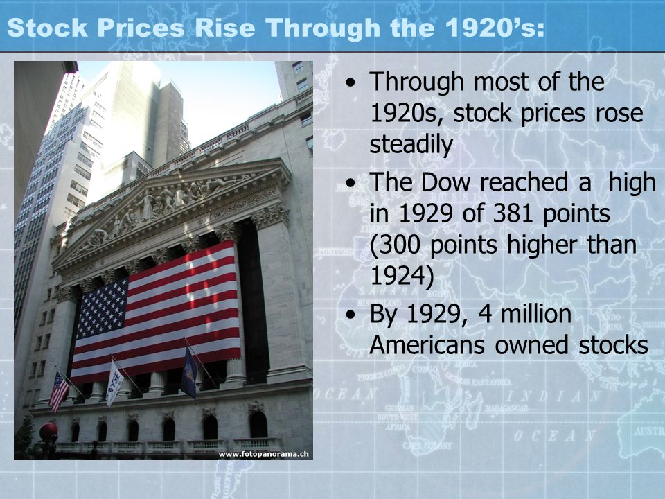 Stock Prices Rise Through the 1920's: