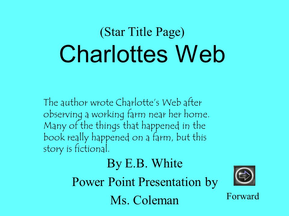 charlottes web book report summary Eb whites classic novel, charlottes web, is being made into a feature film for  2006 check out the original story with kidzworlds book review.