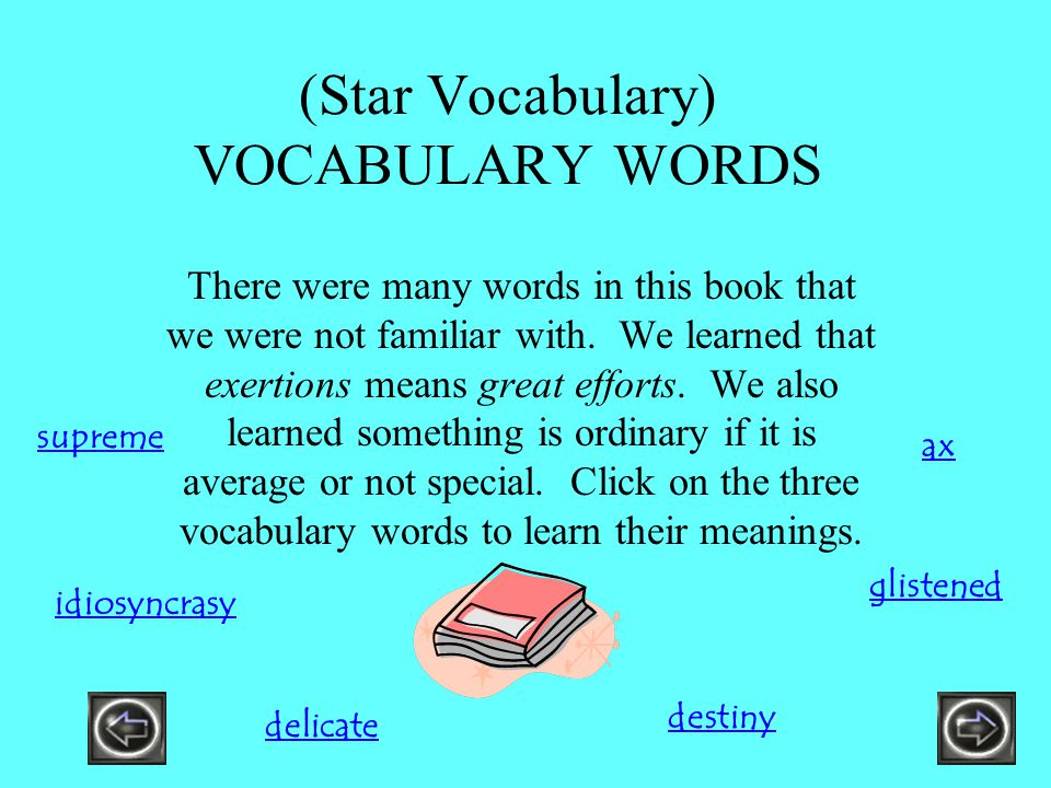 (Star Vocabulary) VOCABULARY WORDS