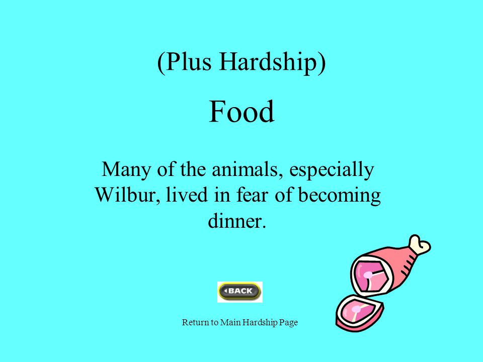 (Plus Hardship) Food Many of the animals, especially Wilbur, lived in fear of becoming dinner.