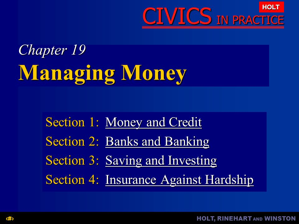 Chapter 19 Managing Money