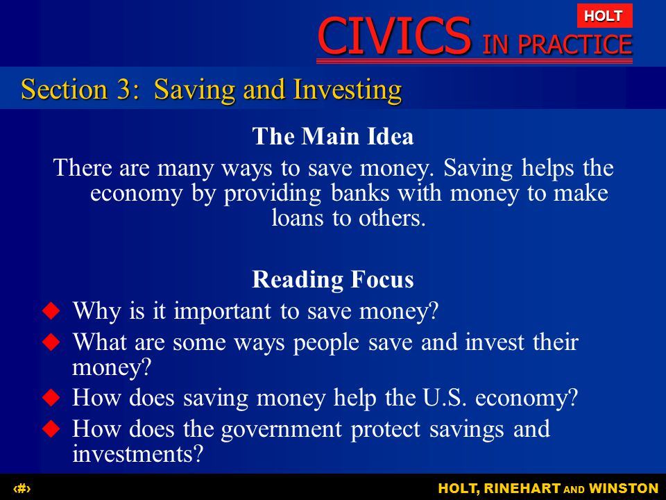 Section 3: Saving and Investing