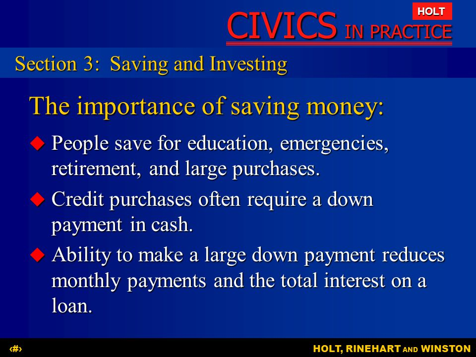 The importance of saving money: