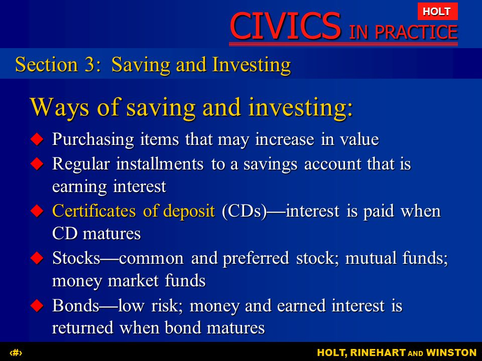 Ways of saving and investing:
