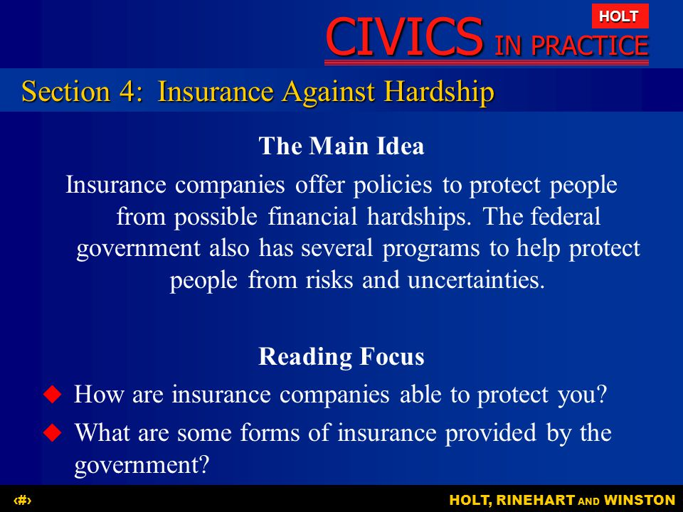 Section 4: Insurance Against Hardship