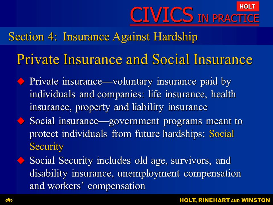 Private Insurance and Social Insurance