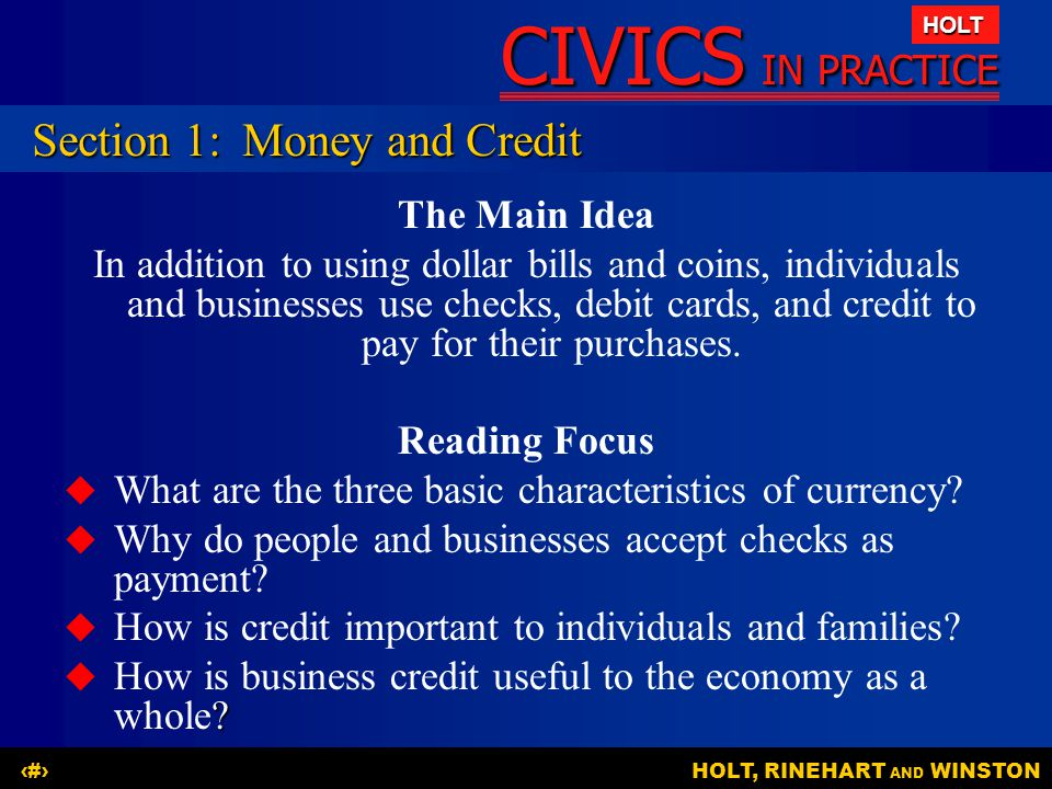 Section 1: Money and Credit
