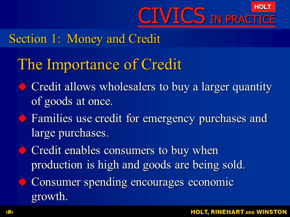 The Importance of Credit