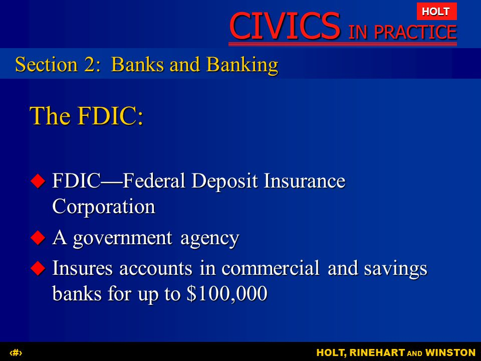 The FDIC: Section 2: Banks and Banking