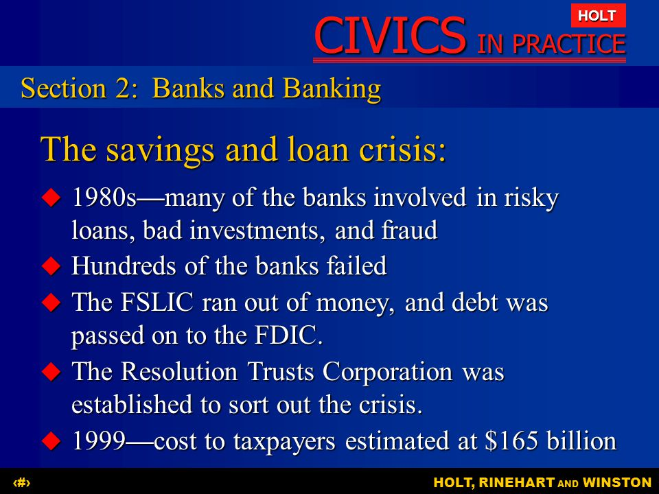The savings and loan crisis: