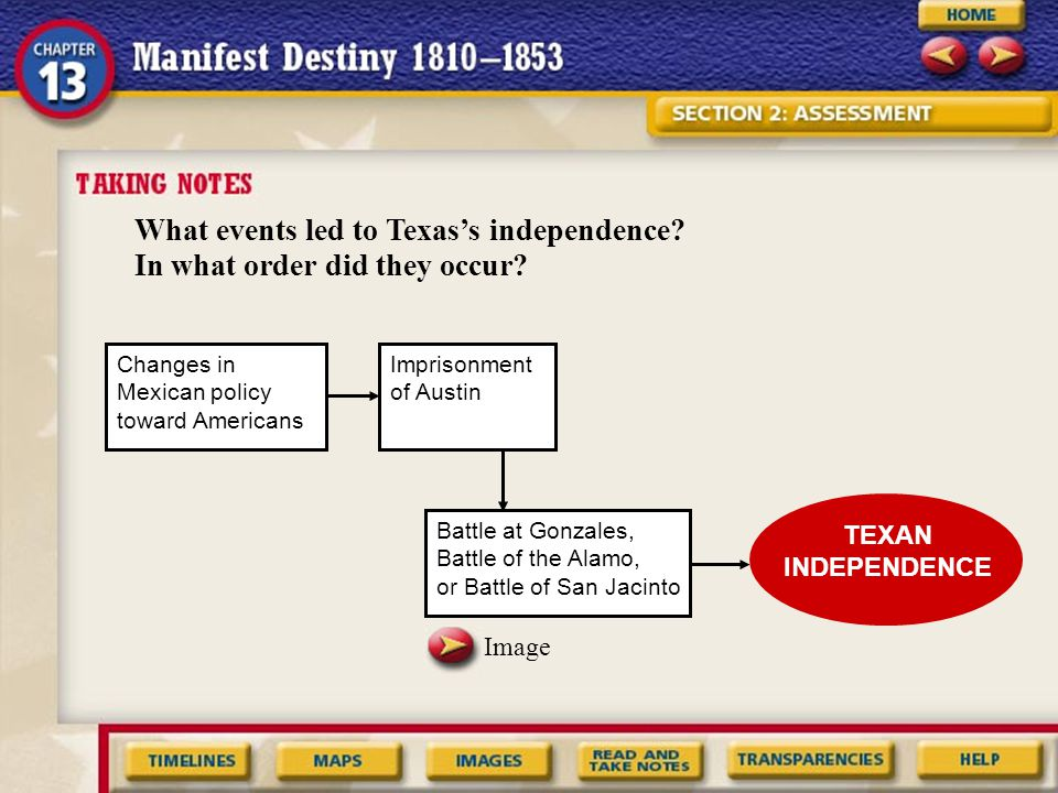 What events led to Texas's independence In what order did they occur
