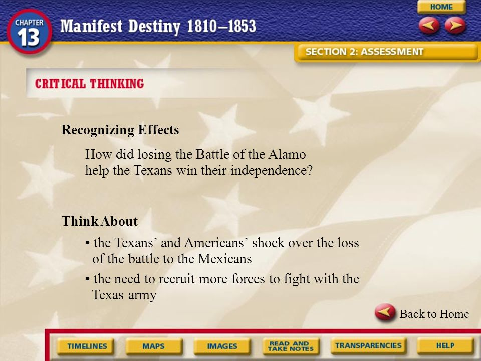 • the need to recruit more forces to fight with the Texas army