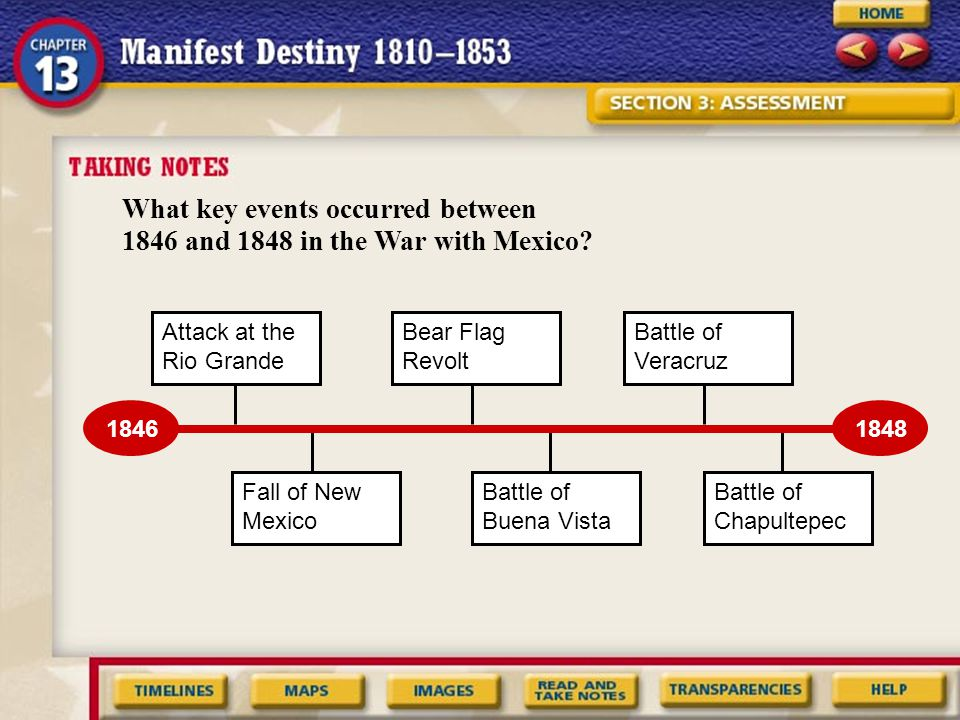 What key events occurred between 1846 and 1848 in the War with Mexico