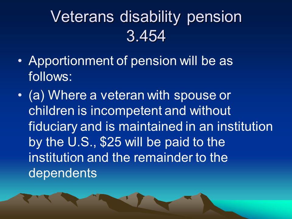 Veterans disability pension 3.454