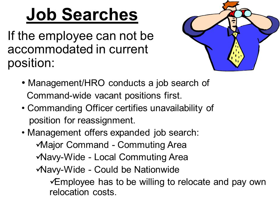 Job Searches If the employee can not be accommodated in current position: Management/HRO conducts a job search of.