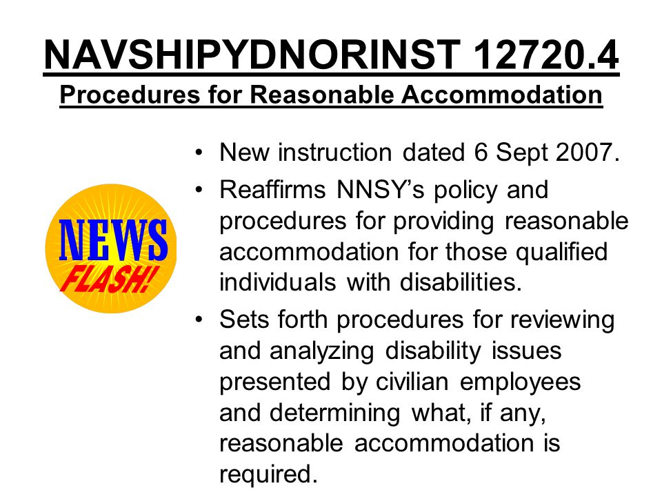 NAVSHIPYDNORINST 12720.4 Procedures for Reasonable Accommodation