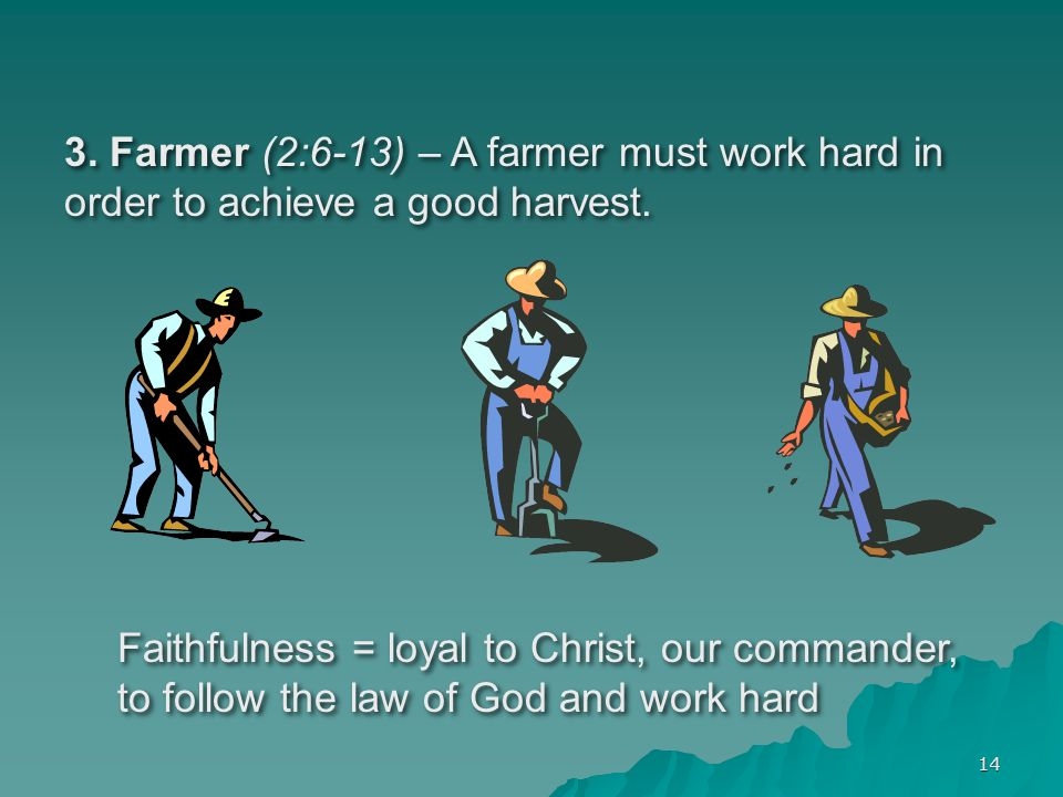 3. Farmer (2:6-13) – A farmer must work hard in order to achieve a good harvest.