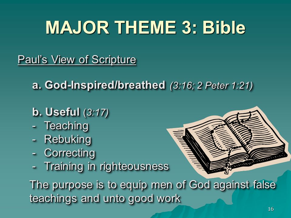 MAJOR THEME 3: Bible Paul's View of Scripture
