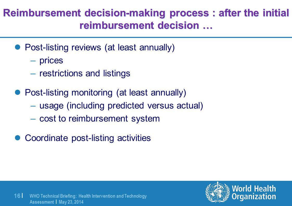 Reimbursement decision-making process : after the initial reimbursement decision …