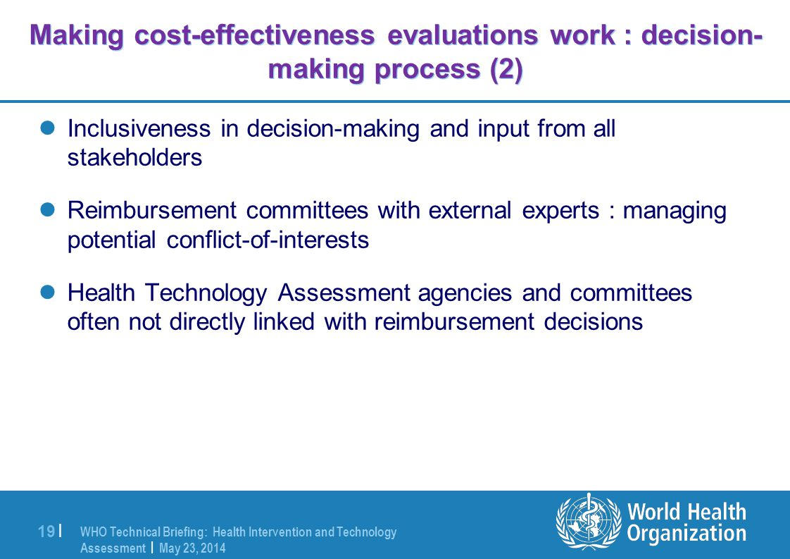 Making cost-effectiveness evaluations work : decision-making process (2)