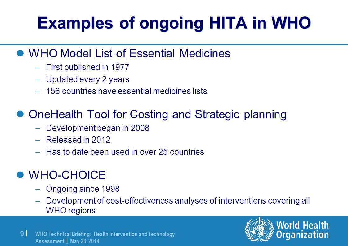 Examples of ongoing HITA in WHO