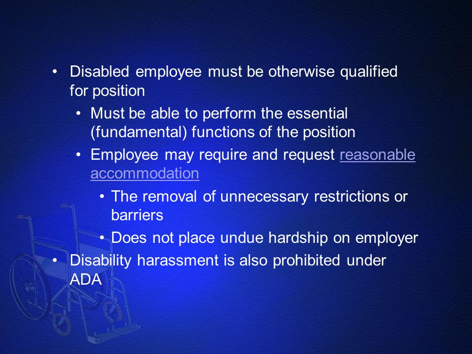 Disabled employee must be otherwise qualified for position