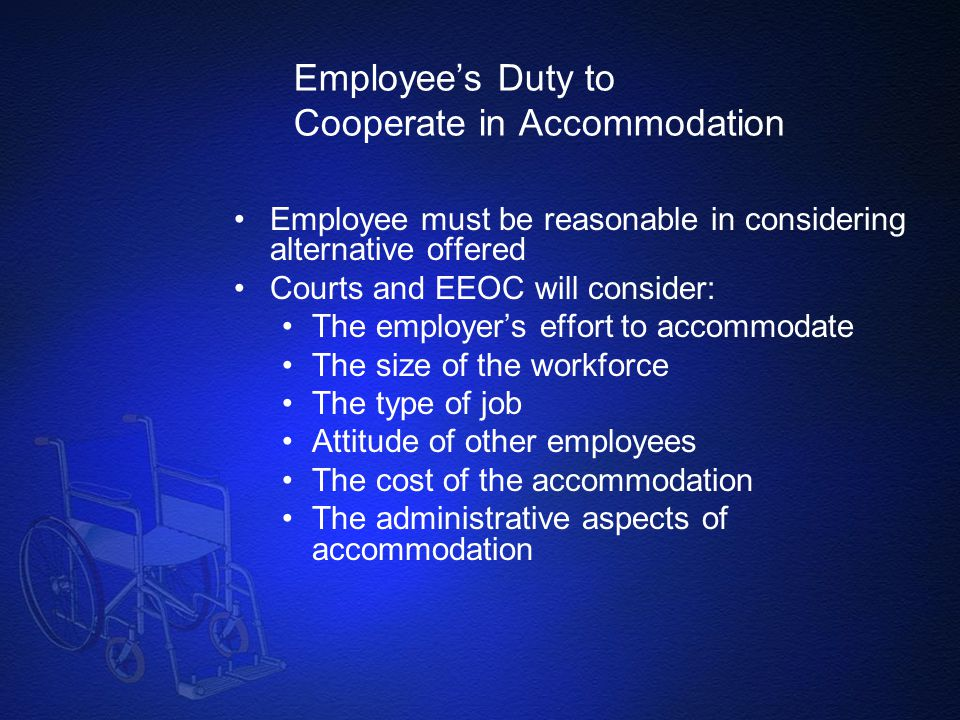 Employee's Duty to Cooperate in Accommodation