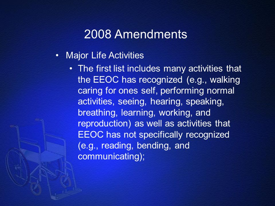 2008 Amendments Major Life Activities