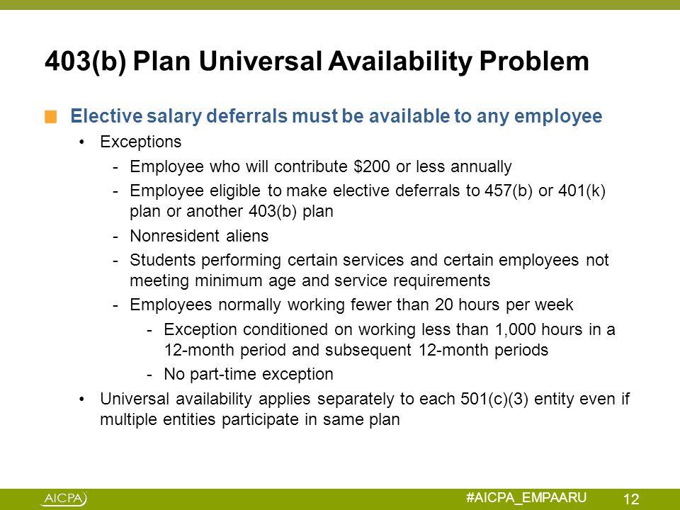 403(b) Plan Universal Availability Problem