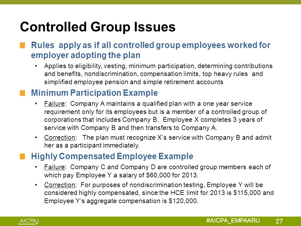 Controlled Group Issues