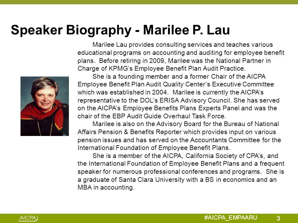 Speaker Biography - Marilee P. Lau