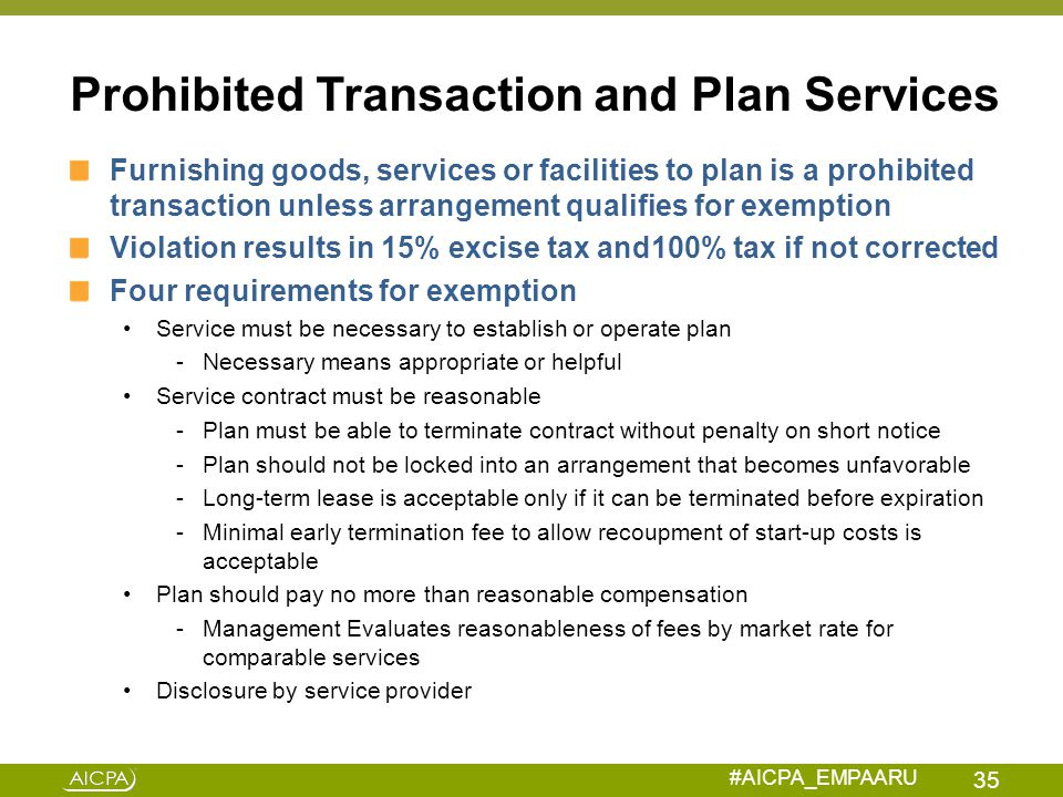 Prohibited Transaction and Plan Services