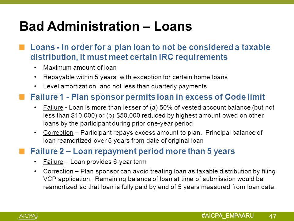Bad Administration – Loans