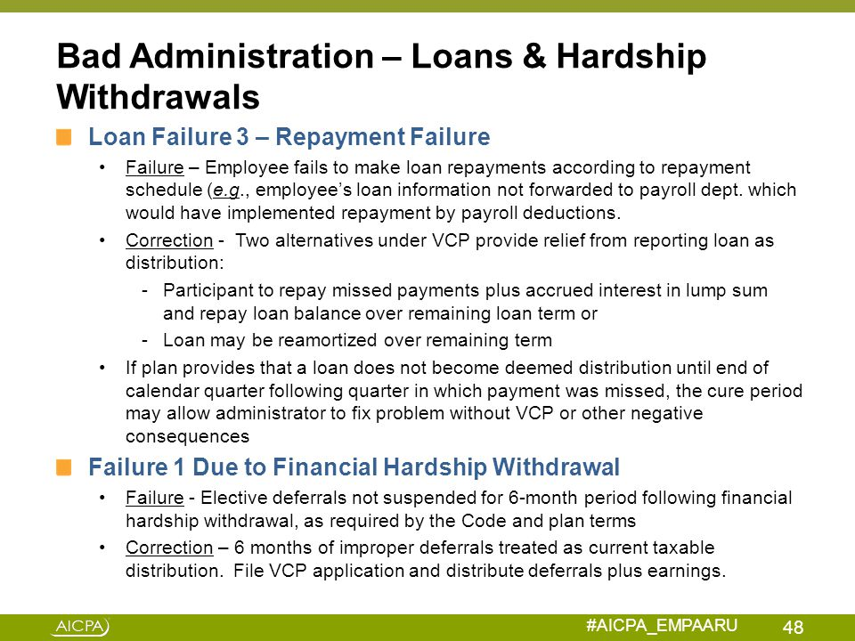 Bad Administration – Loans & Hardship Withdrawals