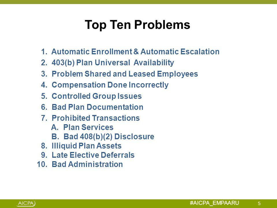 Top Ten Problems 1. Automatic Enrollment & Automatic Escalation