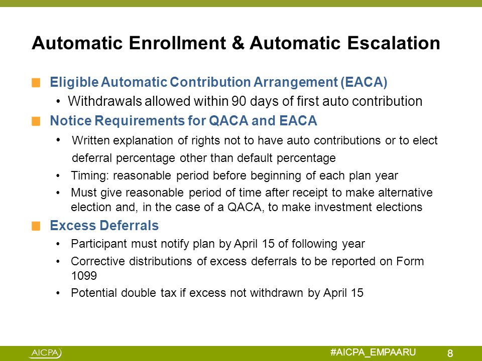 Automatic Enrollment & Automatic Escalation