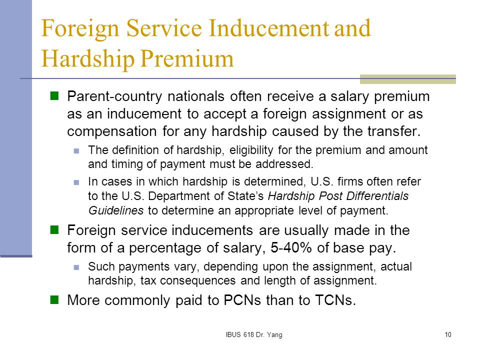 Foreign Service Inducement and Hardship Premium