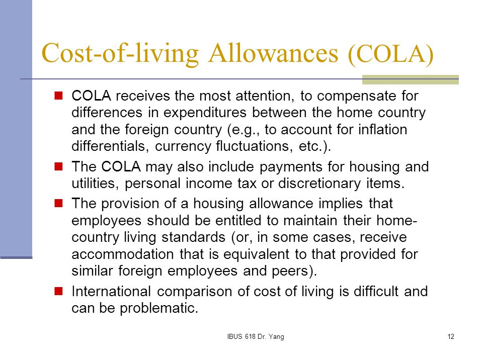 Cost-of-living Allowances (COLA)