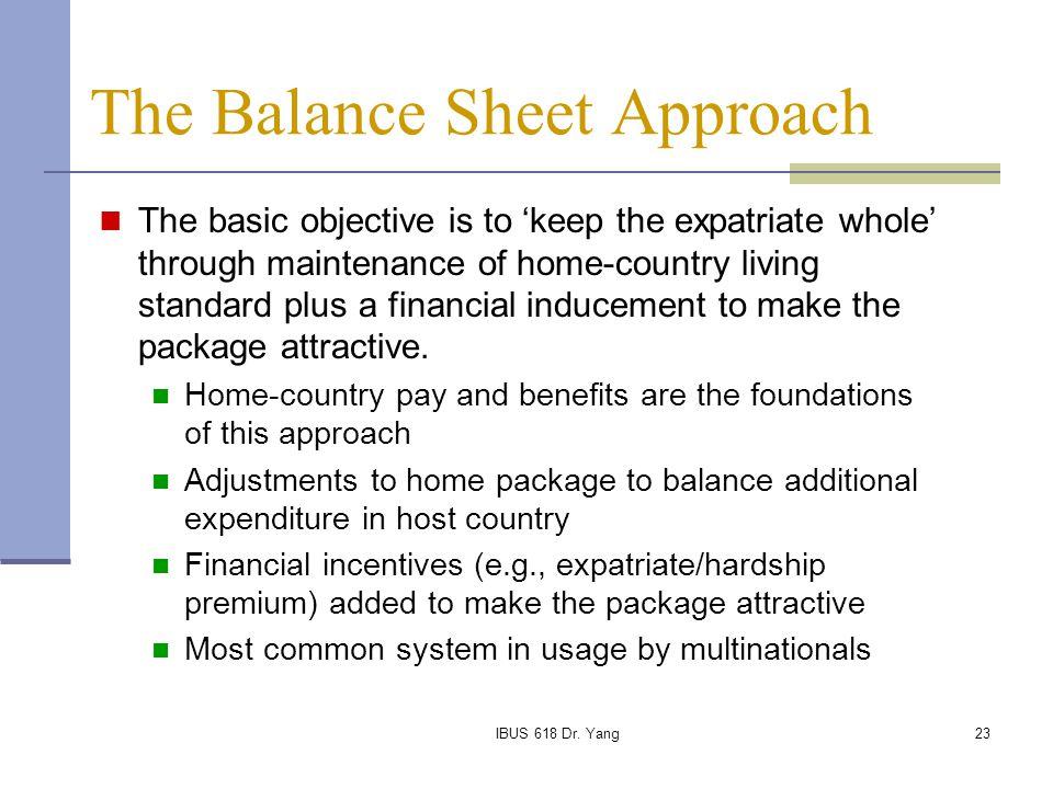 The Balance Sheet Approach