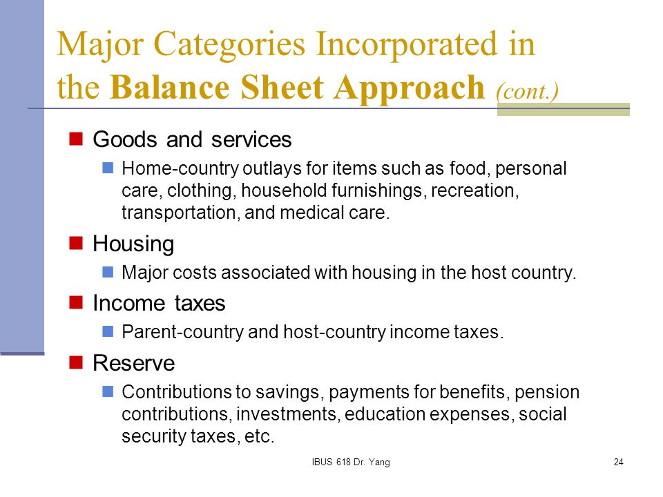 Major Categories Incorporated in the Balance Sheet Approach (cont.)