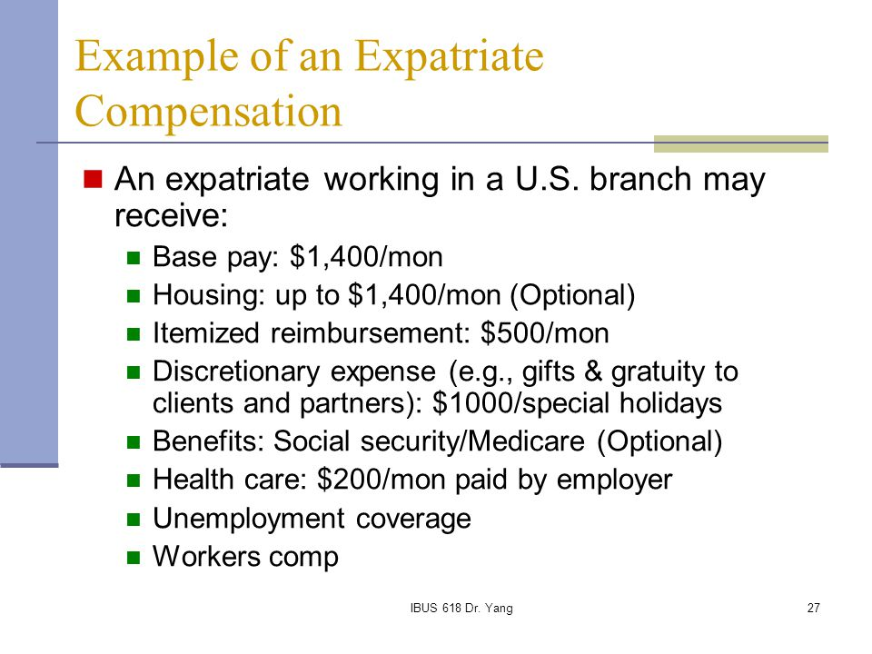 Example of an Expatriate Compensation