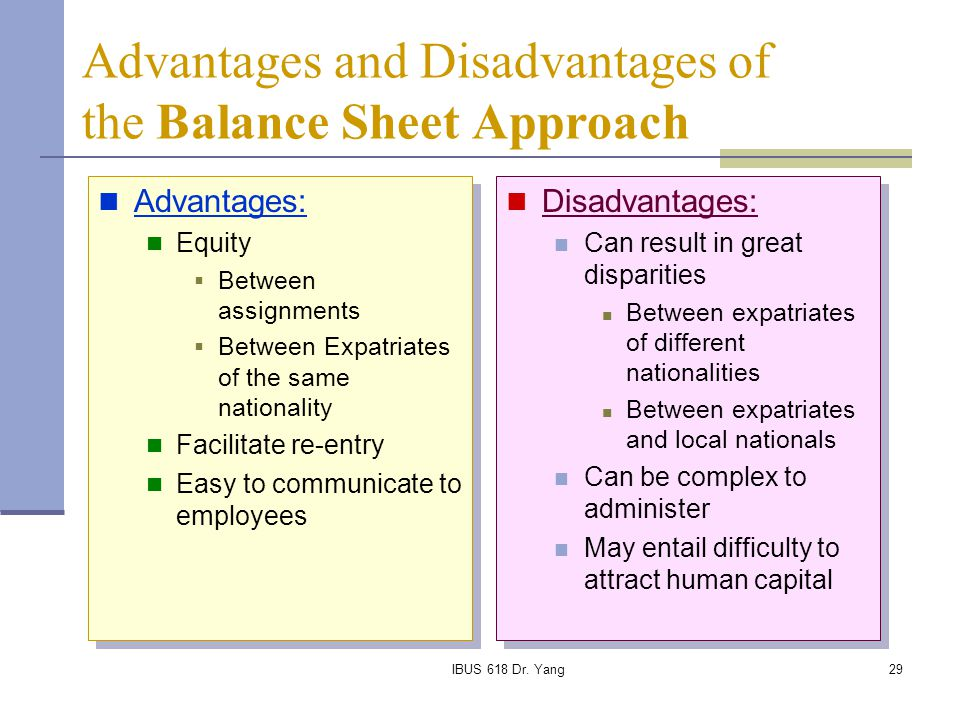 Advantages and Disadvantages of the Balance Sheet Approach