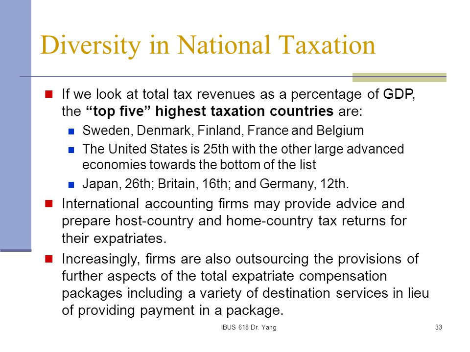 Diversity in National Taxation
