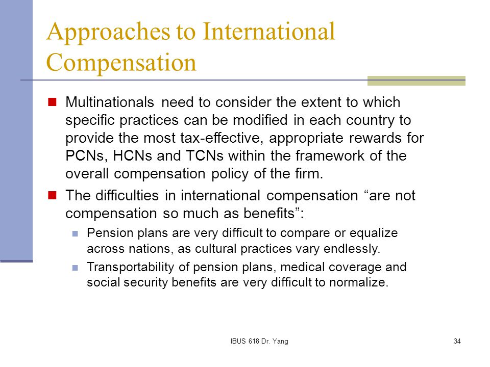 Approaches to International Compensation