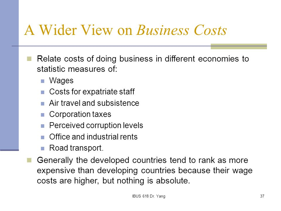 A Wider View on Business Costs